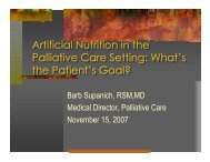 Artificial Nutrition in the Palliative Care Setting - Holy Cross Hospital