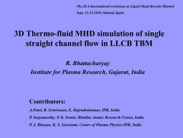 3D Thermo-fluid MHD simulation of single straight channel flow in ...