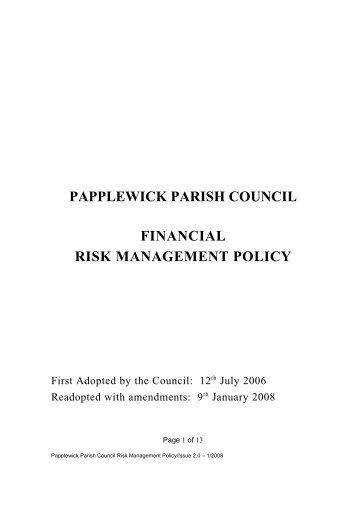 Council financial risk management procedures - Papplewick Parish ...