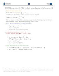 CMCE lecture notes 3: FEM analysis of mechanical vibrations, cont'd