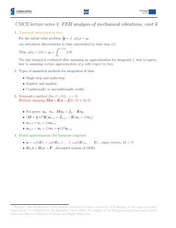 mechanical vibrations notes Examination mechanical vibrations 2017  examination  the examination consists of: hand-in examination tasks,  lecture notes on mechanical vibrations,.