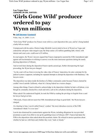 'Girls Gone Wild' producer ordered to pay Wynn ... - Ronald Richards