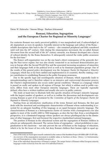 Romani, Education, Segregation and the European Charter for ...