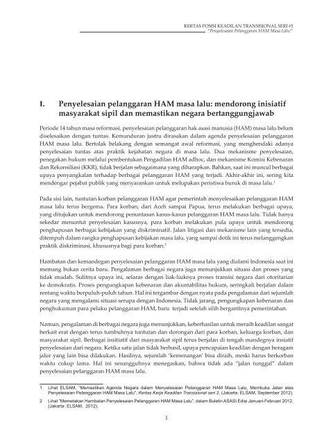 Kertas Posisi Keadilan Transisional Nomor 3 - Elsam