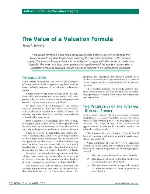 investment advisory firm valuation formula