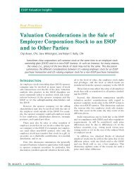 Valuation Considerations in the Sale of Employer Corporation Stock ...