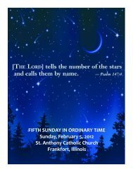 FIFTH SUNDAY IN ORDINARY TIME Sunday, February 5, 2012 St ...