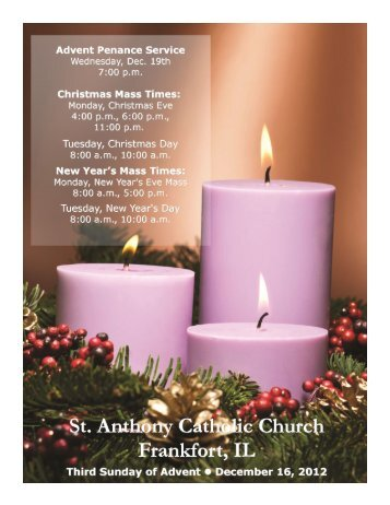 third sunday of advent december 16, 2012 - St. Anthony Catholic ...