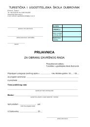 Obrazac za prijavu završnog rada - Turistička i ugostiteljska škola ...
