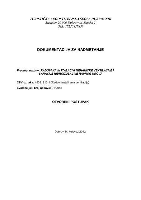 radovi na instaliciji mehaničke ventilacije i sanacije hidroizolacije ...