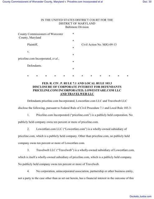Local Rule 103 3 Disclosure Statement by Priceline com