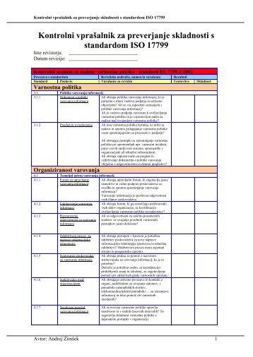 Kontrolni vprašalnik za preverjanje skladnosti s standardom ... - ISACA