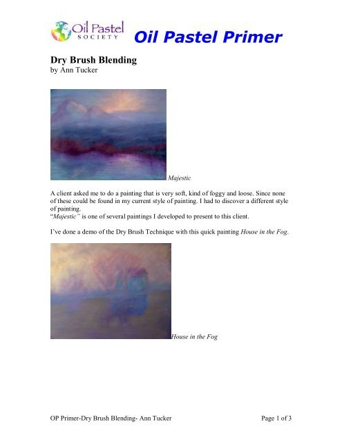 OP Primer-Dry Brush Blending-Ann Tucker pdf - Oil Pastel Society