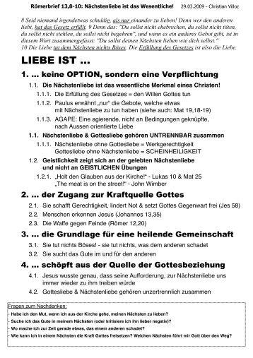 Römer 13,8-11 - Basileia Vineyard Basel