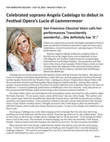 Press Release: July 19, 2010 - Festival Opera