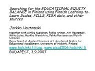 Searching for the EDUCATIONAL EQUITY BALANCE in Finland ...
