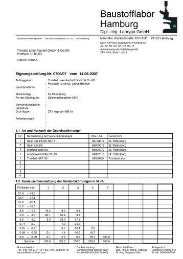 Asphaltmischung - Trinidad Lake Asphalt GmbH & Co. KG