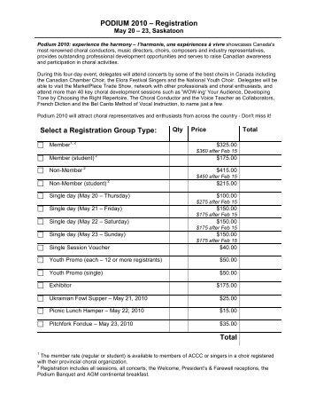 Reg Form - Saskatchewan Choral Federation