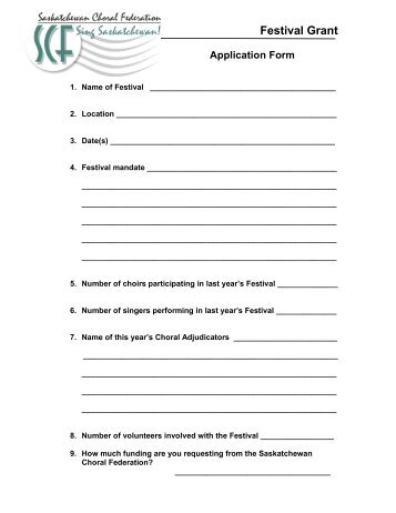 Festival Application Form - Saskatchewan Choral Federation