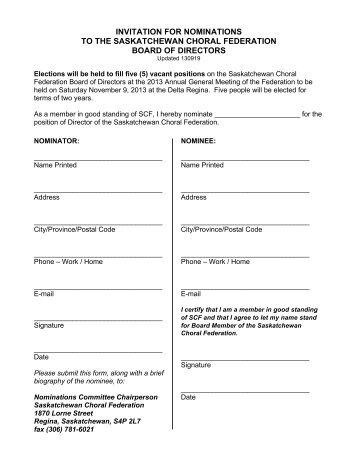 nomination form - Saskatchewan Choral Federation