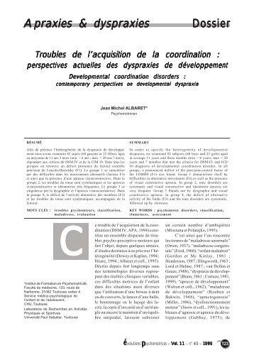Apraxies & dyspraxies Dossier - Institut de Formation en ...