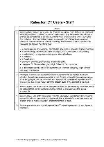 Staff Acceptable Use Policy - Sir Thomas Boughey High School