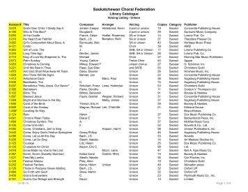Unison - Saskatchewan Choral Federation