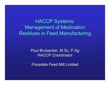 HACCP Systems: Management of Medication Residues in Feed ...
