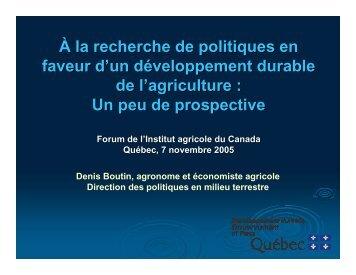 À la recherche de politiques en faveur d'un développement durable ...