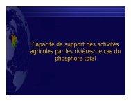 Capacité de support des activités agricoles par les rivières: le cas du ...