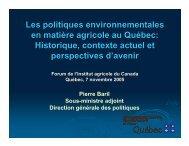 Les politiques environnementales en matière agricole au Québec ...