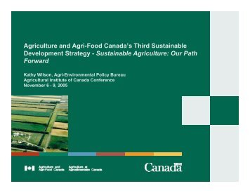 Sustainable Agriculture - Agricultural Institute of Canada