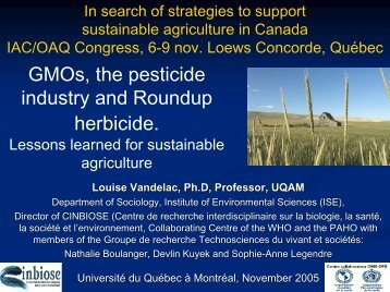 Roundup Ready Crops - Agricultural Institute of Canada
