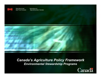 Canada's Agriculture Policy Framework - Agricultural Institute of ...