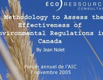 A Methodology to Assess the Effectiveness of nvironmental ...