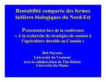 Rentabilité comparée des fermes laitières biologiques du Nord-Est