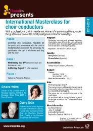 presents International Masterclass for choir conductors