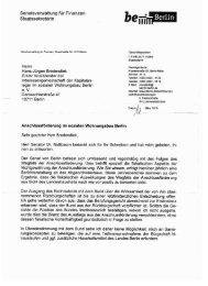 Antwortschreiben der Senatsverwaltung für Finanzen - Berlin