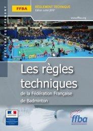 règles techniques - Fédération Française De Badminton