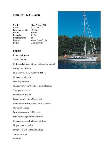 Malö 43 - 122 Classic - Malö Yachts