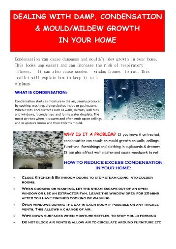 dealing with damp, condensation & mould/mildew growth in your ...