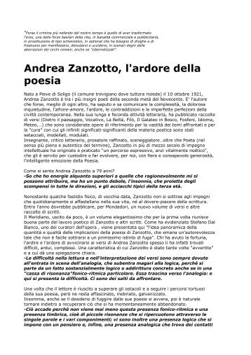 Andrea Zanzotto, l'ardore della poesia - Centro Studi e Ricerche Aleph