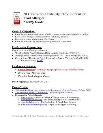 Food Allergies - NCC Pediatrics Residency at Walter Reed