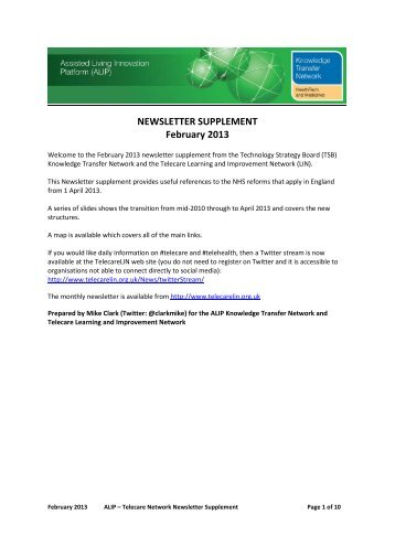 February 2013 - The Telecare Learning and Improvement Network