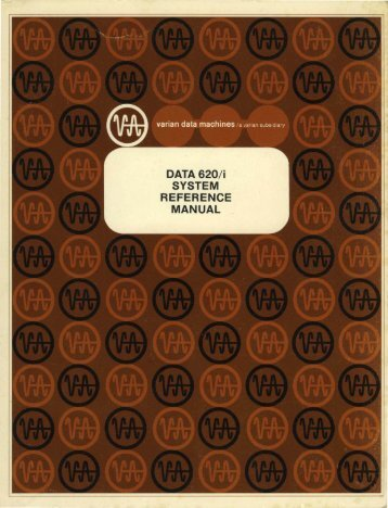 DATA 620/i SYSTEM REFERENCE MANUAL . - Al Kossow's Bitsavers