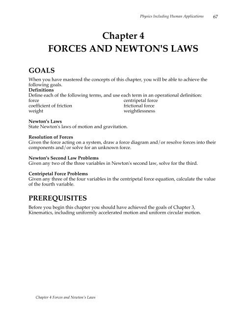 Chapter 4 FORCES AND NEWTON'S LAWS GOALS