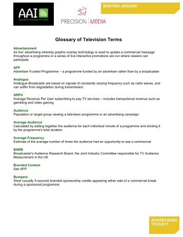 Glossary of TV Terms - Association of Advertisers in Ireland