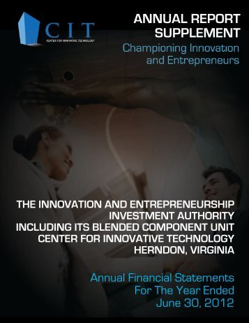 ANNUAL REPORT SUPPLEMENT - Center for Innovative Technology