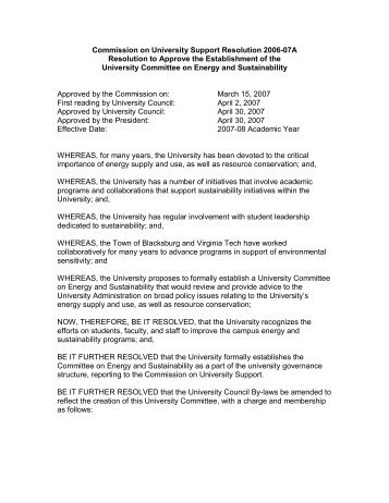 Resolution to Approve the Establishment of the University ...