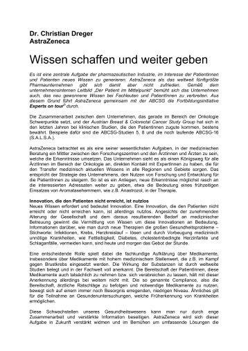 Abstract C.Dreger: Wissen schaffen und weiter geben - ABCSG